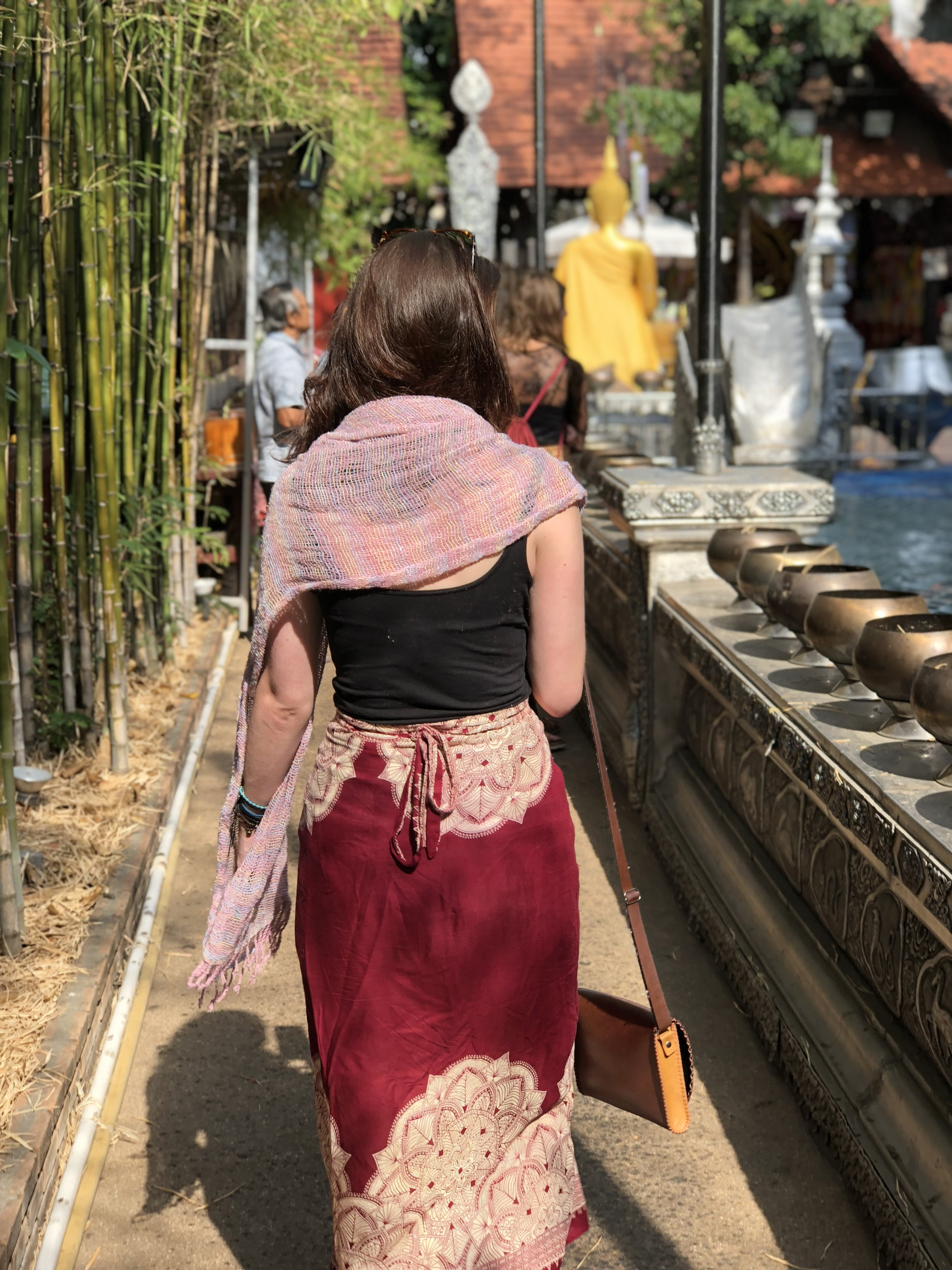 Scarf/sarong combo while hopping through Chiang Mai to not offend anyone