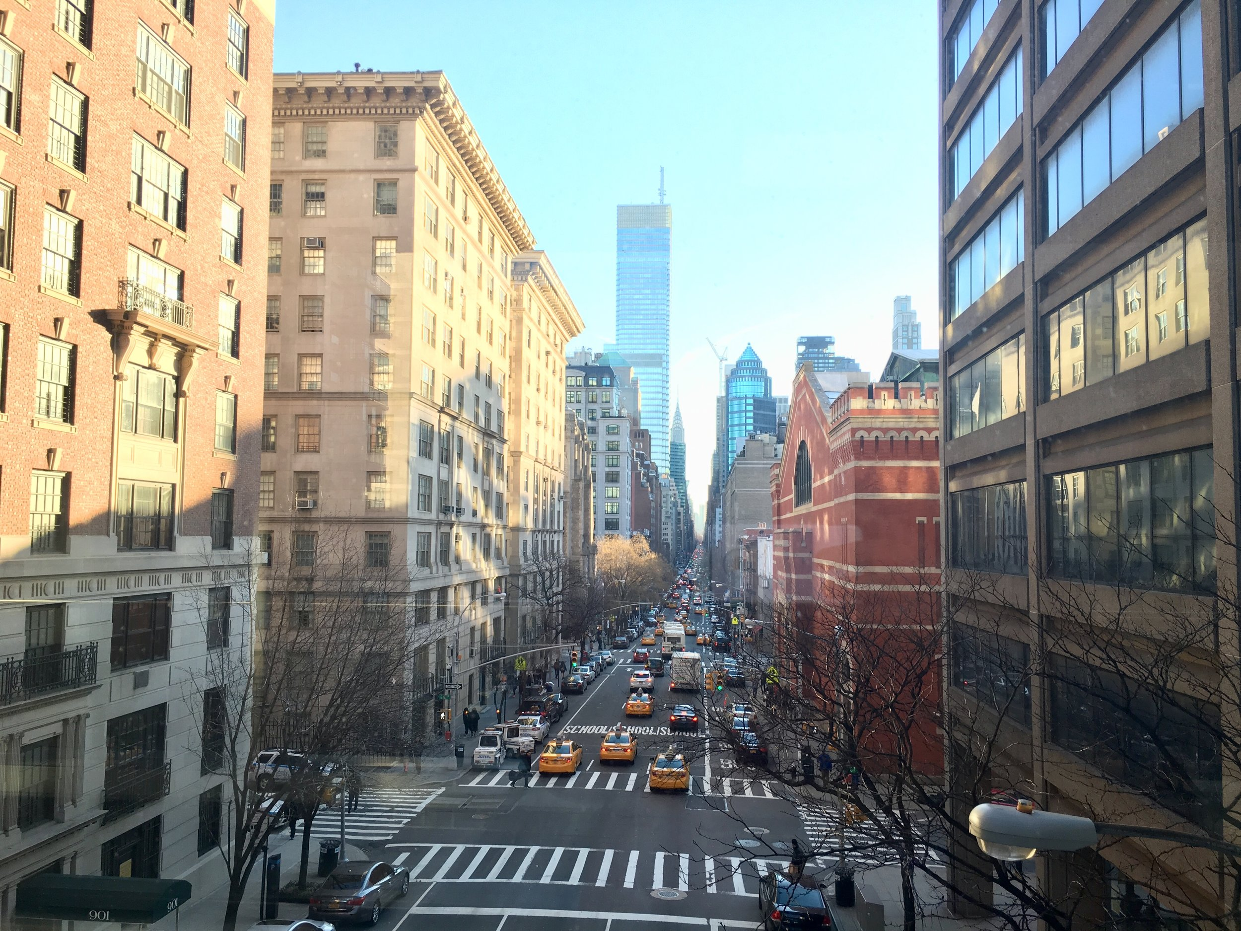 This is the view from my college looking down Lexington Avenue, Upper East Side.