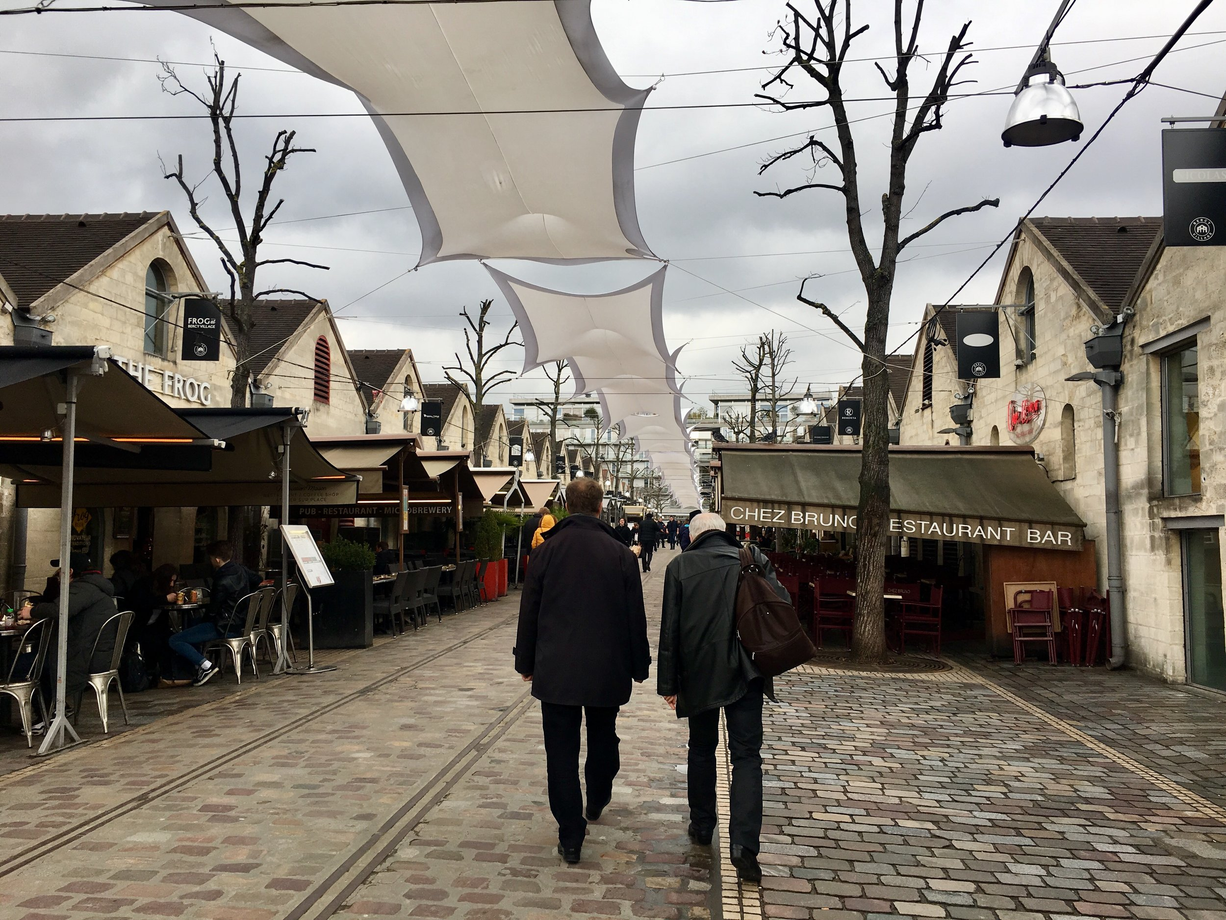 Bercy Village on a quiet Wednesday morning. Many more locals come at night for dinner, drinks, and a movie at UGC Ciné Bercy.