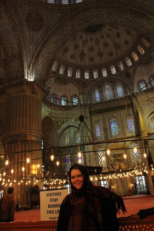 Inside the Blue Mosque, as close to the visitor's line as I could possibly be!