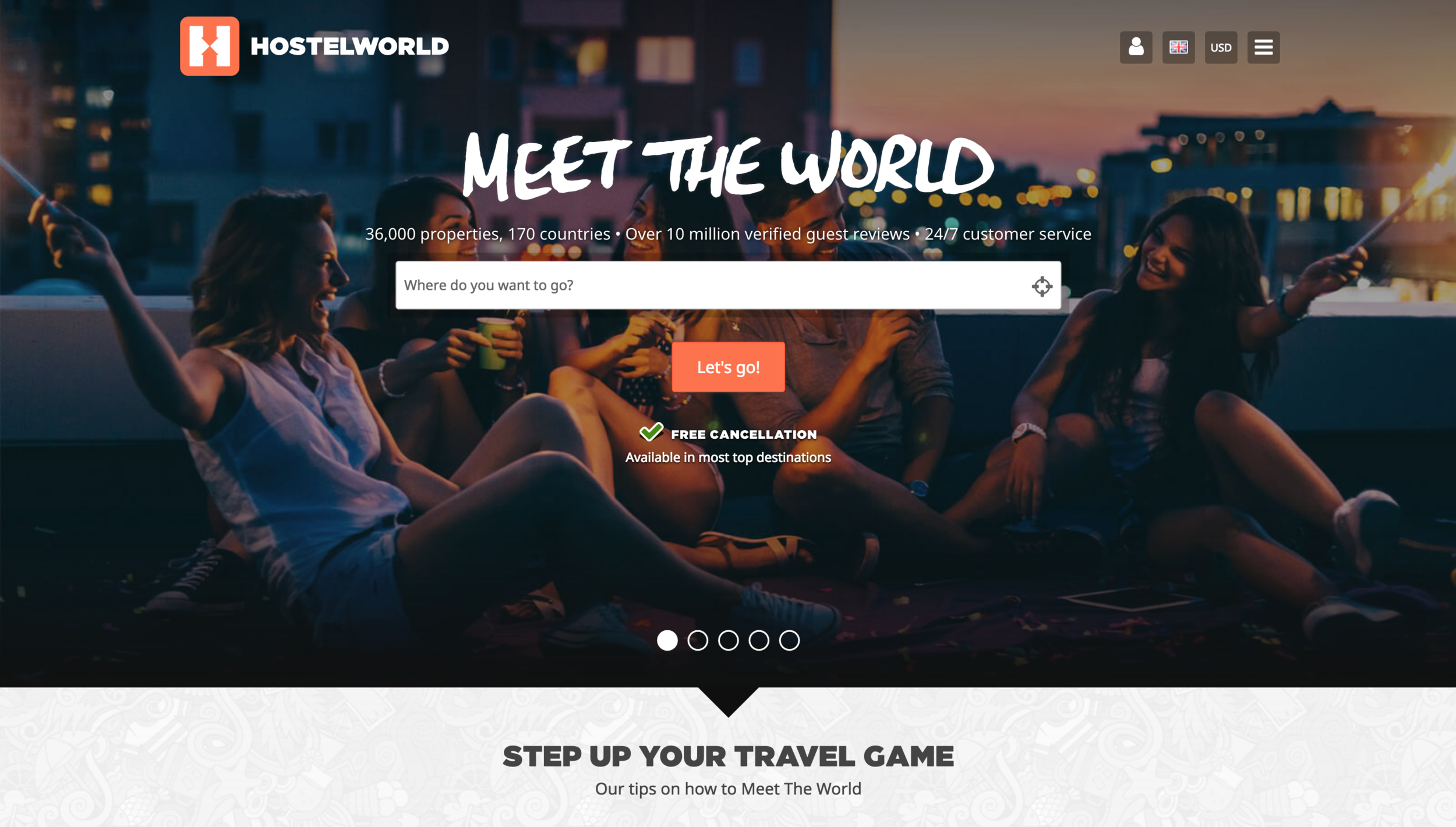 HostelWorld's Home Page.