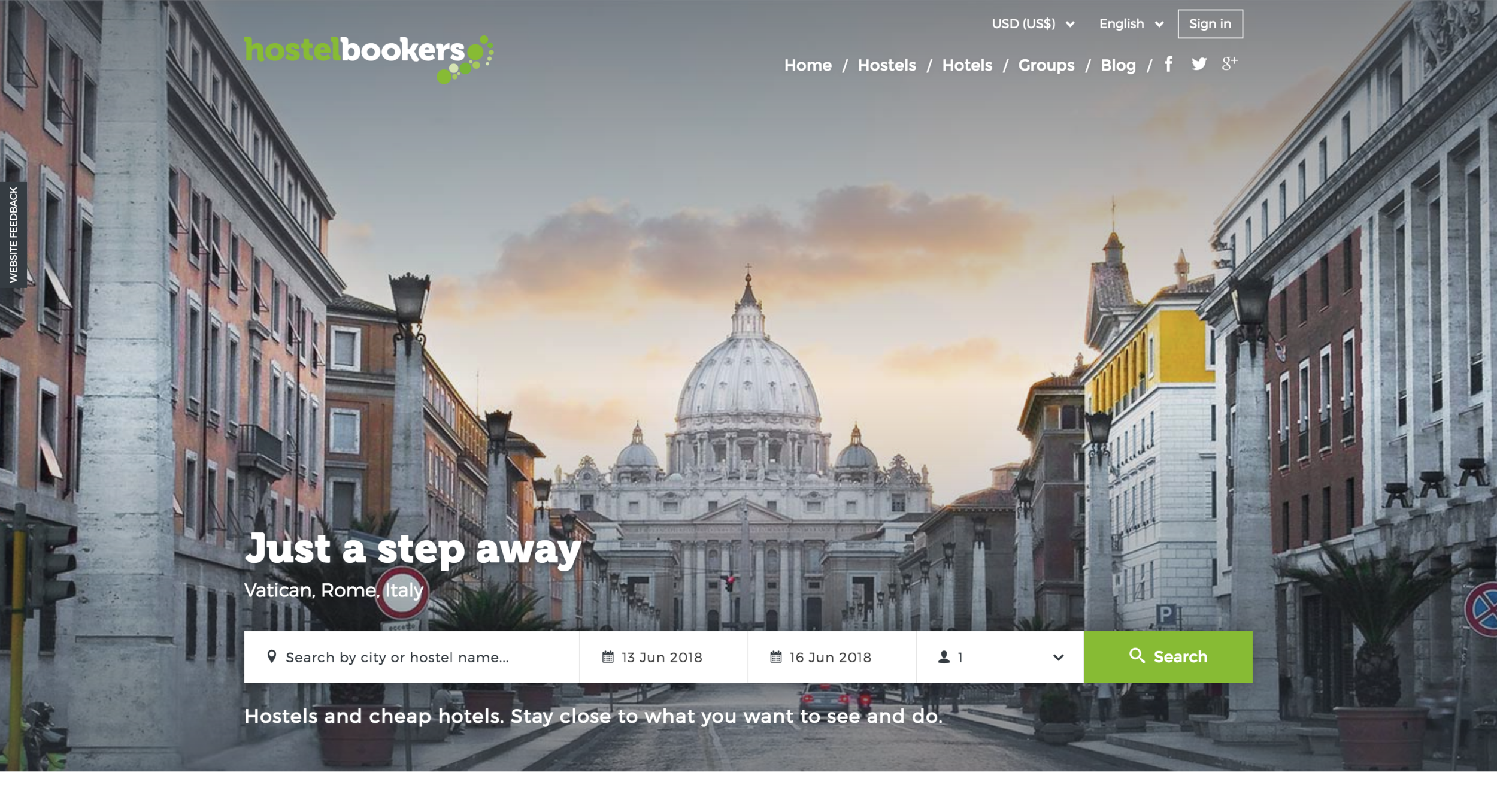 HostelBookers Home Page:
