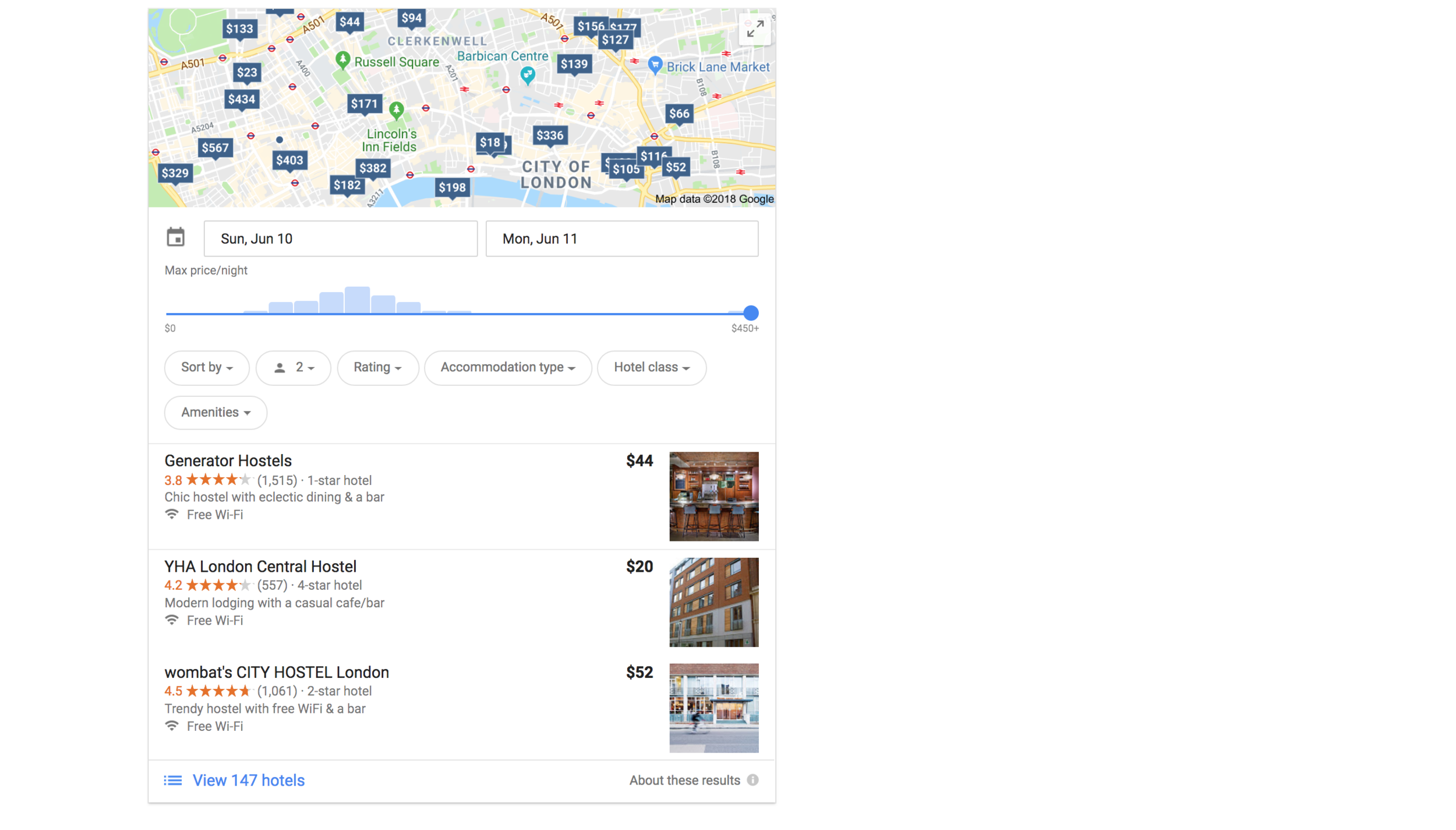 "Once you search ""Hostels in (Location)"" on Google, scroll past the ads and you will see this! Hit the expand button in the upper right corner of the map to bring you to the entire site."