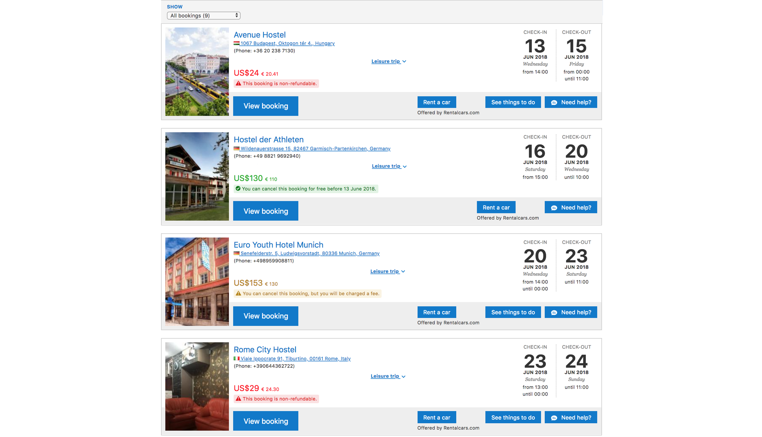 Example of booking page for Booking.com:
