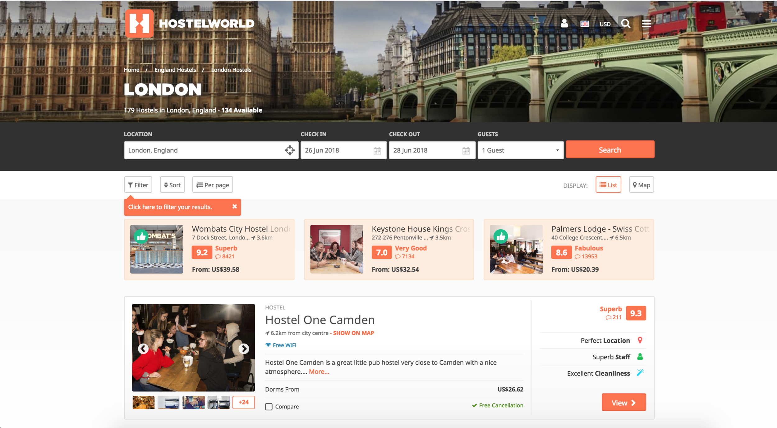 Example of HostelWorld's Search Page: