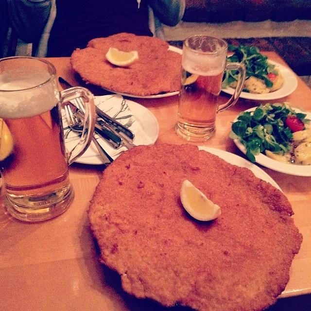 Wiener Schnitzel with Potato Salad at Figlmüller - Image by pungorszabi via Instagram