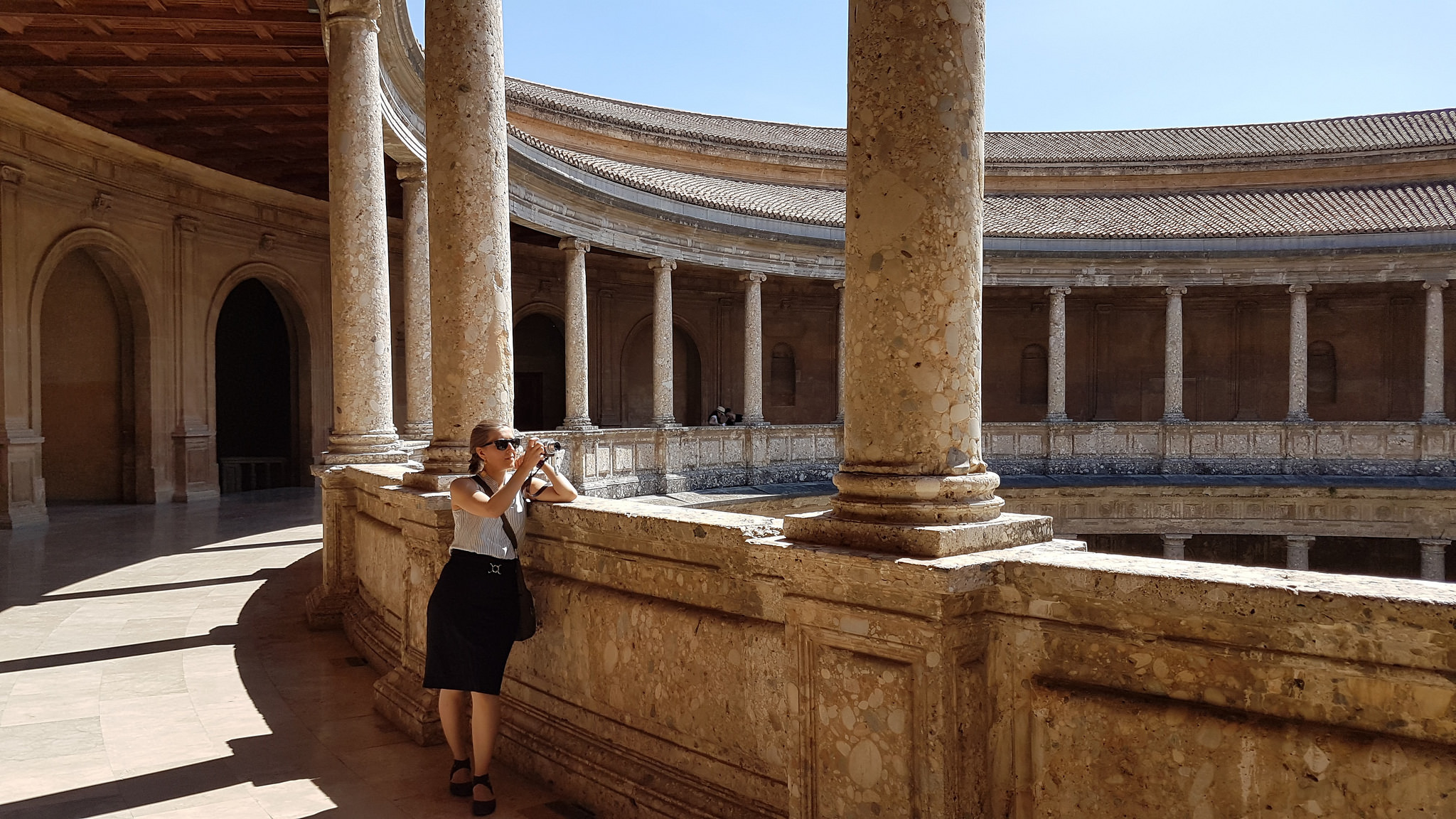 Geraldine taking pictures in Granada's Al Hambra