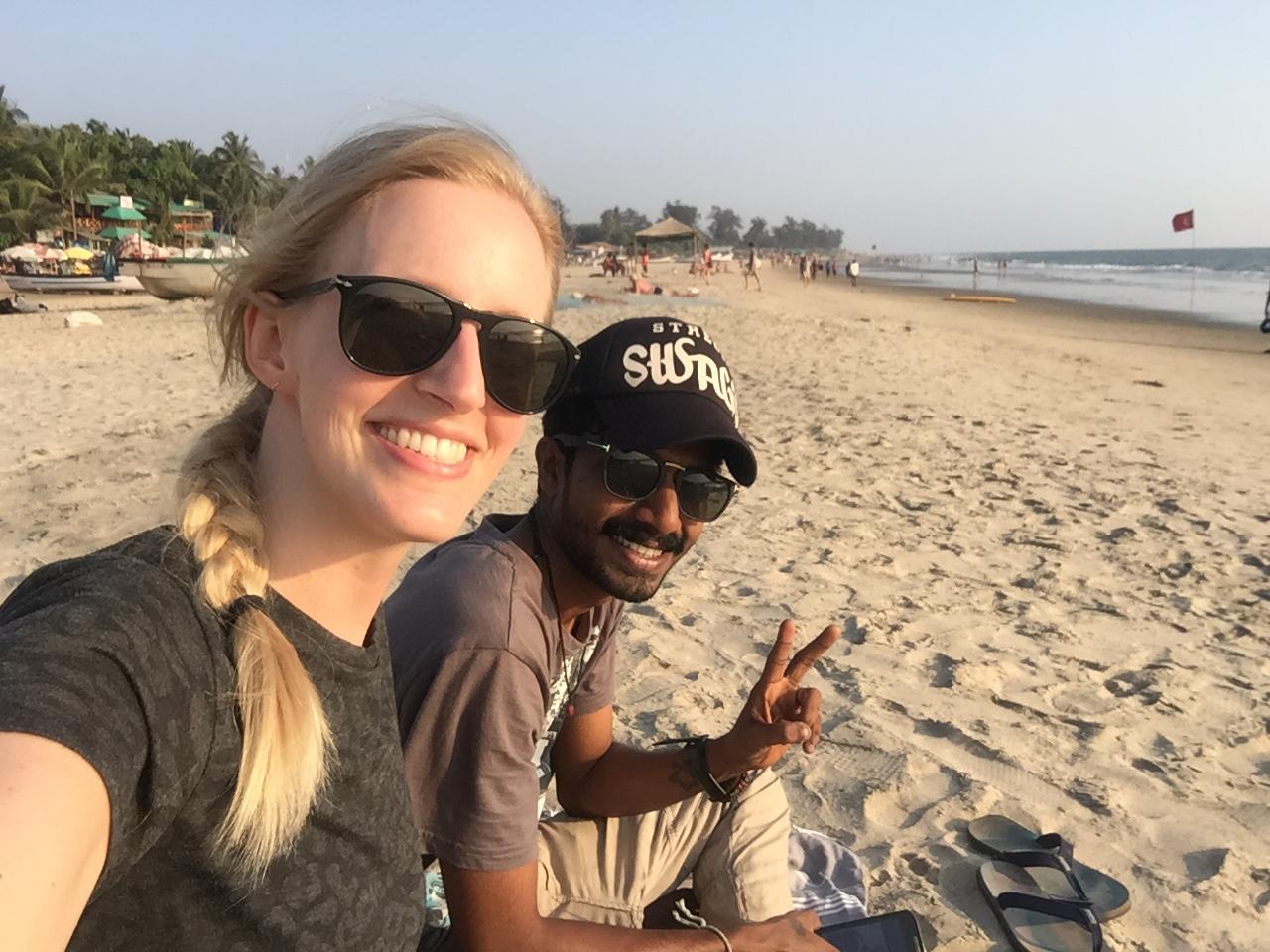 A selfie with my friend Rahul on the beach of Arambol, Goa