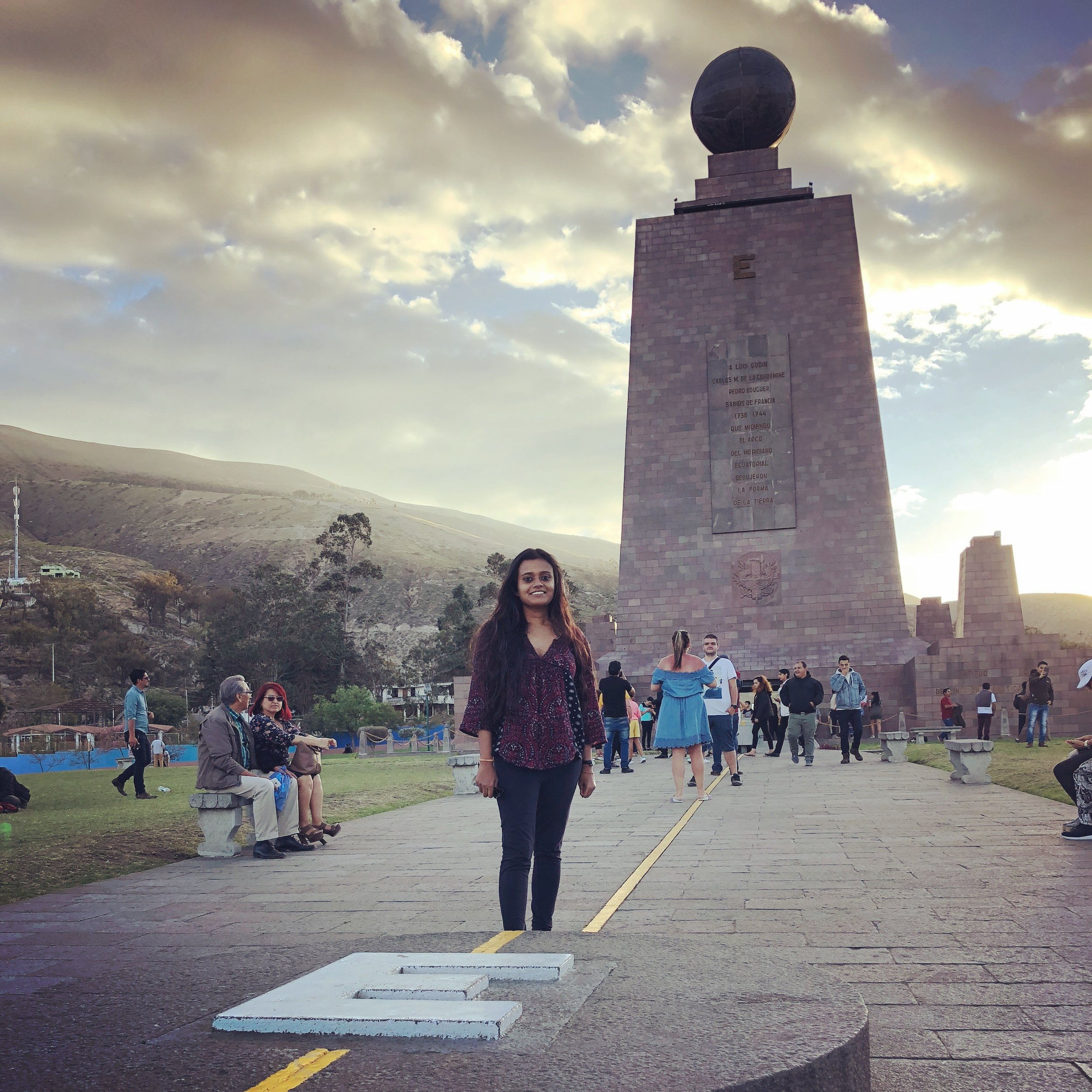 Traveling with a weak passport in Ecuador. At the El Mitad del Mundo (The Middle of the World). Ecuador is one of the very few countries, which is visa free for Indians. While flying to Ecuador from India can be expensive, you at least don't have to deal with ridiculous document requirements for a visa.