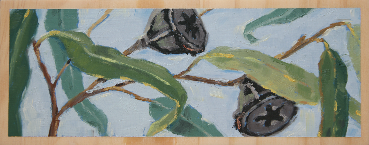 """'BRANCHING OUT'  8 1/4"""" x 3 1/4"""" (21 x 8.2cm) Oil on wood block."""