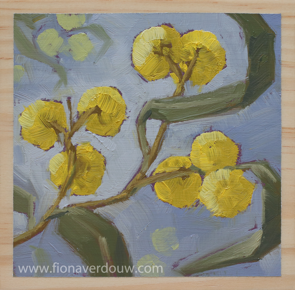 """'FUZZY YELLOWS' – 4 x 4"""" (10 x 10cm) Oil on wood block – On display & available at The Quoll Gallery in November 2018."""
