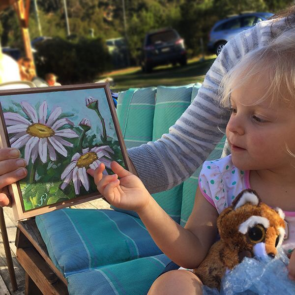 Starting young: Daisy begins her own art collection at the tender age of three.