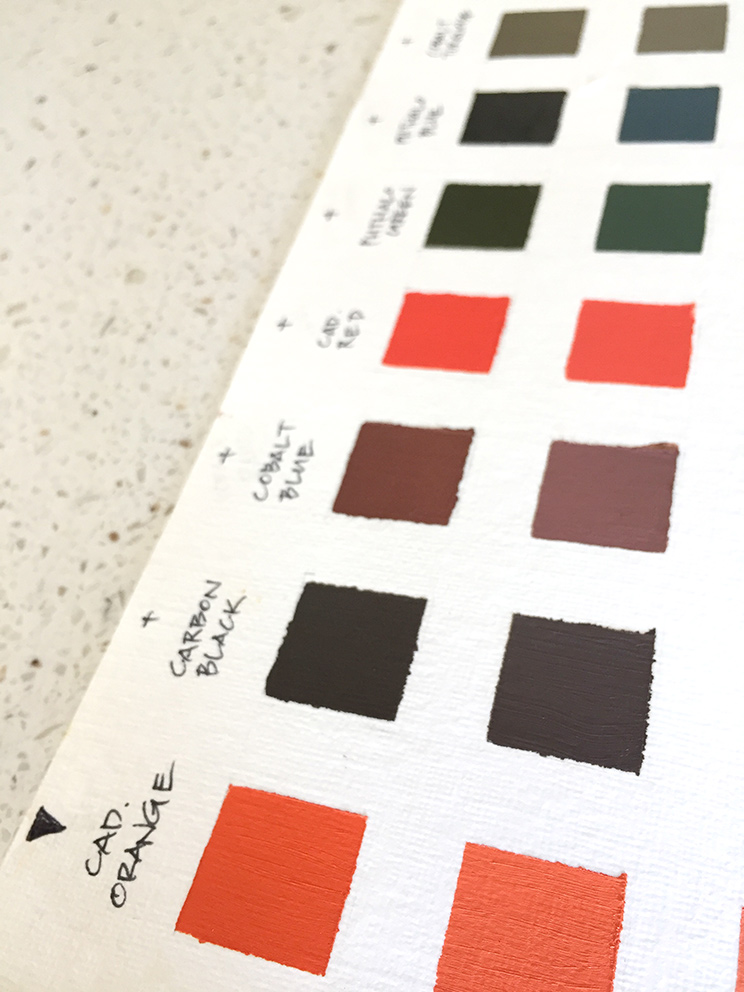 This is my Cadmium Orange colour chart, but over time, I plan on having a chart for every single paint pigment I own.