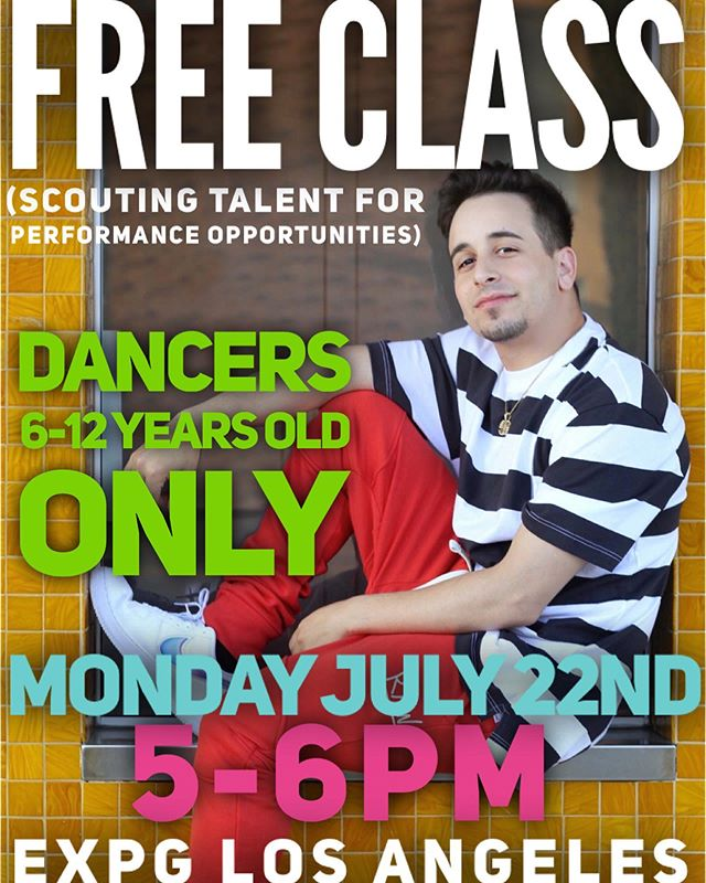 Tomorrow (Monday) I am teaching a free class for dancers 6-12years old at @expg_studio_la ... details on flyer! See you there!! .. *scouting for talent... (looking especially for boys) *dancers must be Intermediate/advanced level