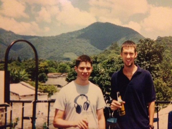 Me (right) and my boy in Antigua Guatemala 2005 with a volcano in the back round!
