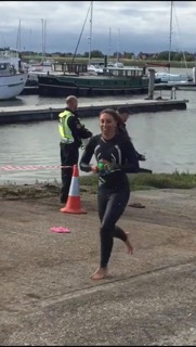 Squad member and Team GB triathlete Ty Preston, exits the water in good shape!