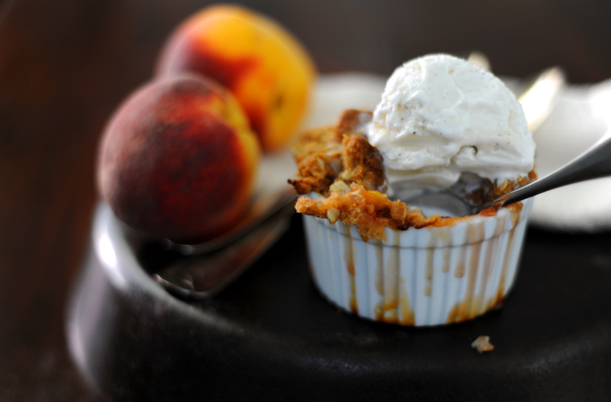 Brown Sugar and Bourbon Peach Crisp on stylingmyeveryday.com