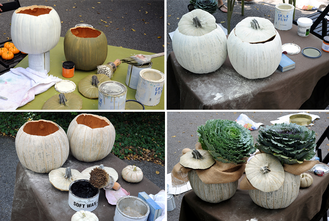 Faux Wooden Pumpkin planters How-To