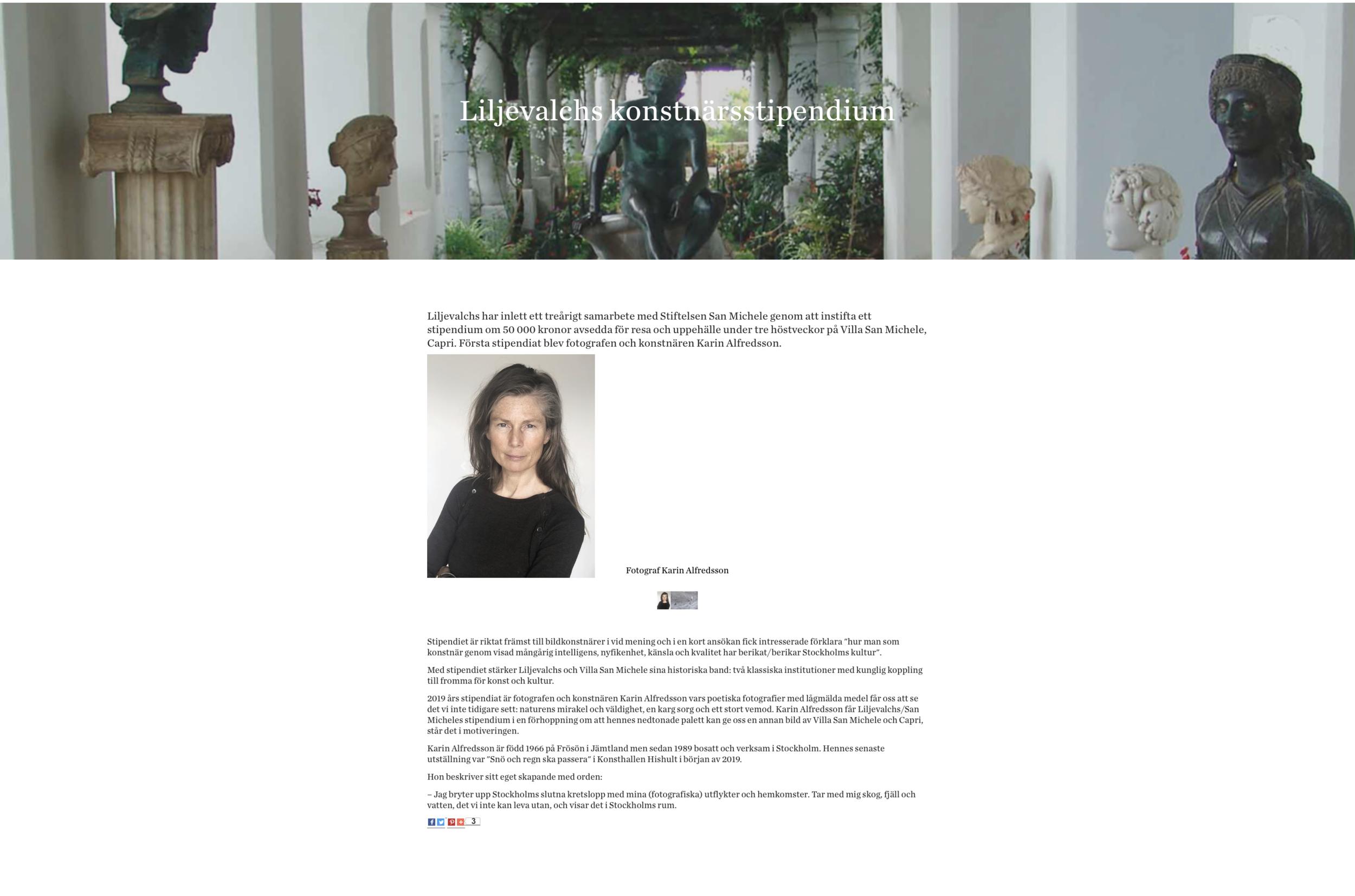 2019,  Liljevalchs/San Micheles konstnärsstipendium