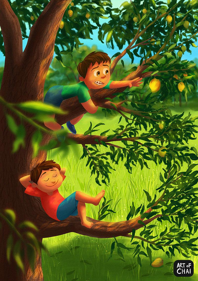 Climbing Mango trees in Summer.