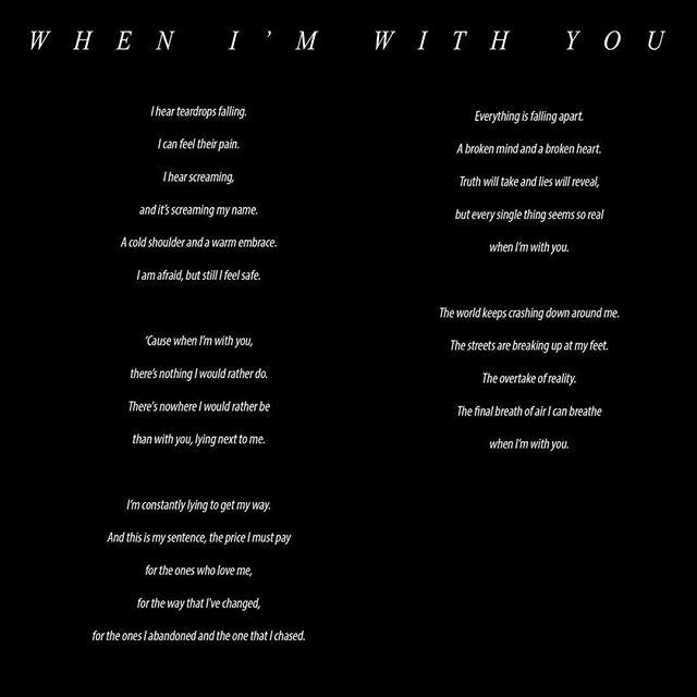 """Her kan du lese teksten til """"When I'm With You""""! Sangen er mulig å høre på alle digitale plattformer. Linken finner du i bioen🙌🏼 #single #singel #whenimwithyou #ballad #song #sang #rock #love #music #band #oslo #spotify #itunes #rebel #fixation"""