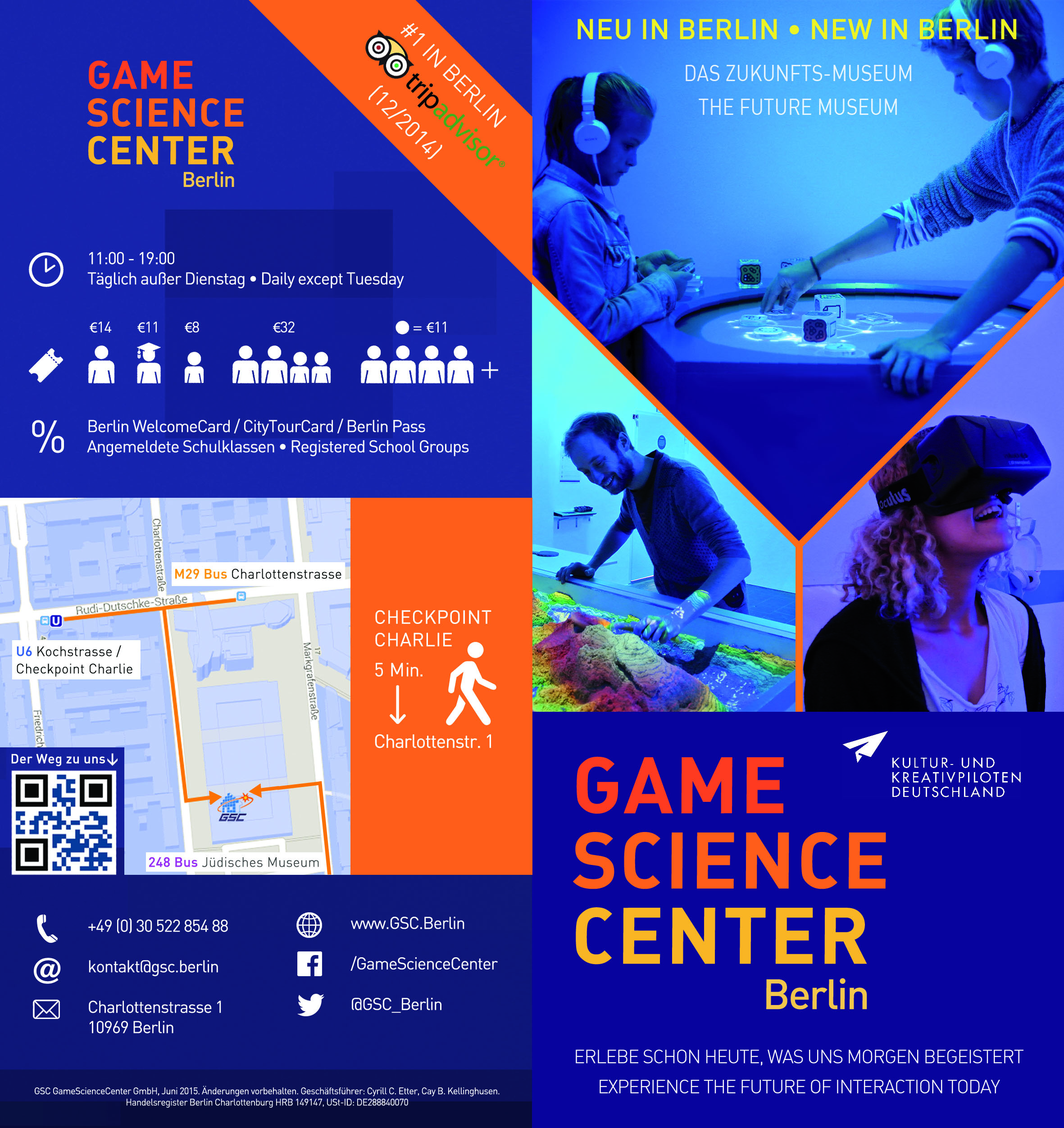 Flyer for the Game Science Center (2015) - outside