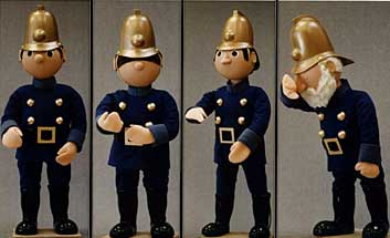 The Trumpton fire brigade, shown here in a portfolio image before being added to the ride.