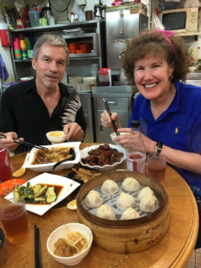 Happy clients, enjoying a tasty local style meal in one of my favorite Hong Kong neighborhood joints.