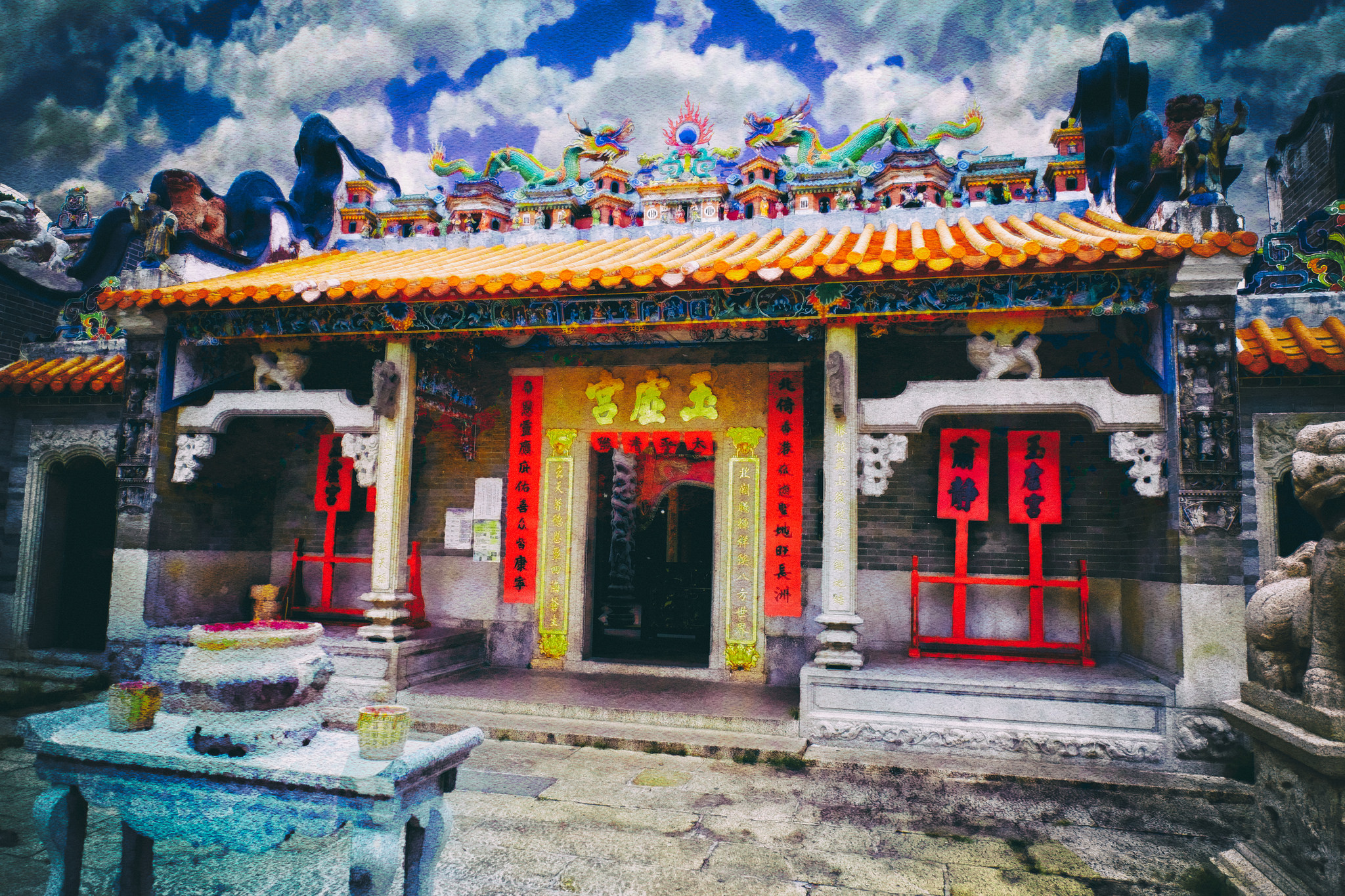 The Pak Tai Temple on Cheung Chau. Image processed by William Banzai7.