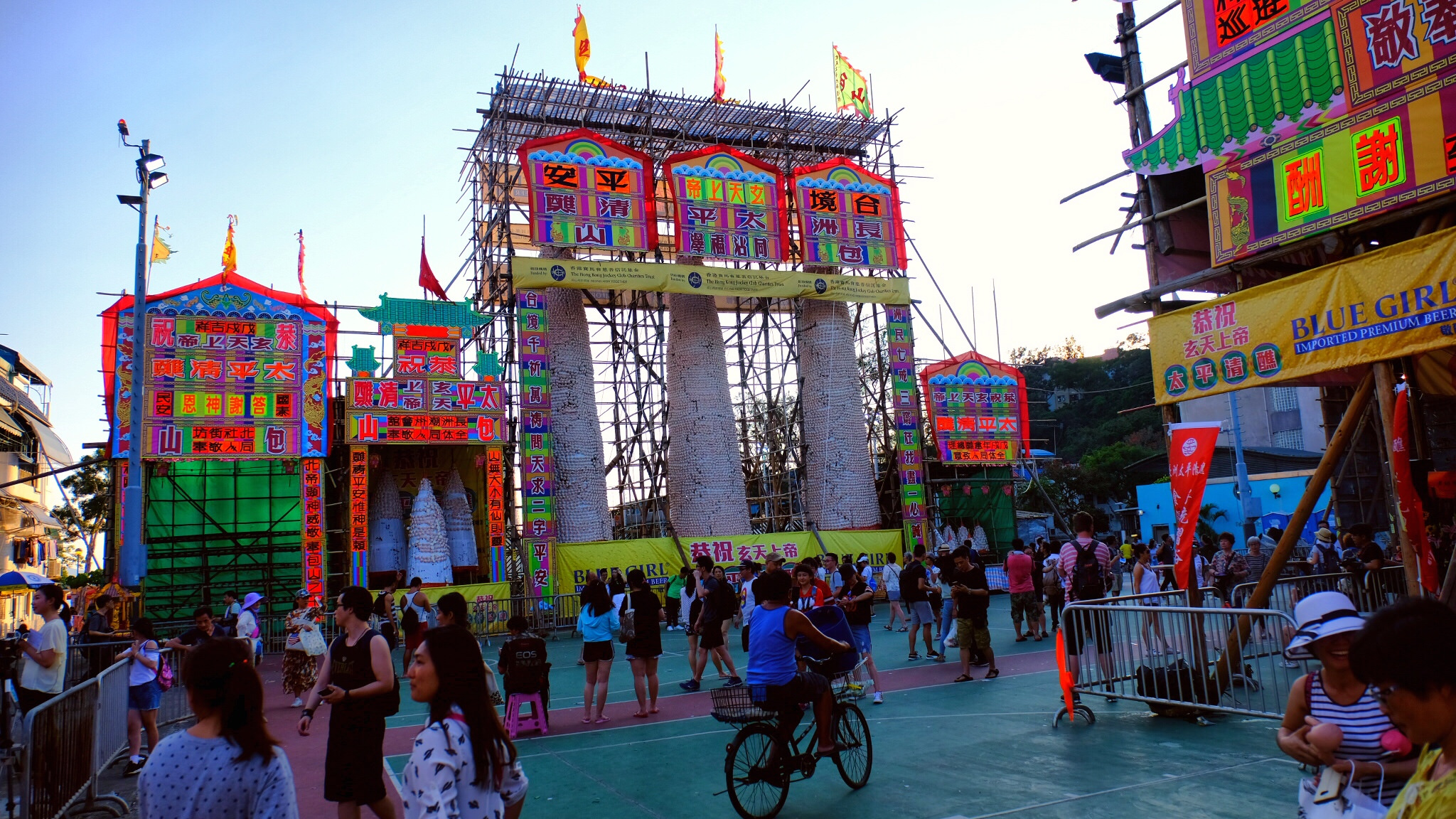 The famous Cheung Chau bun festival celebrated every on Buddha's Birthday every May.
