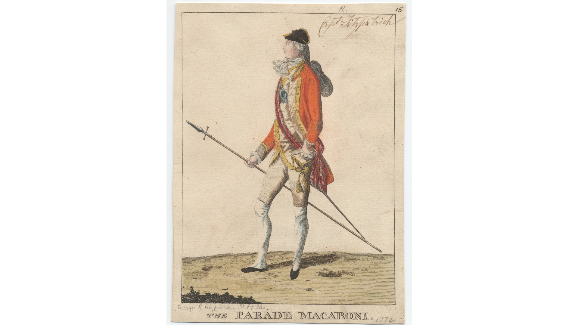 """Clubbed Hair - Darly, Mary, """"The parade macaroni"""" (1772). Prints, Drawings and Watercolors from the Anne S.K. Brown Military Collection. Brown Digital Repository. Brown University Library."""