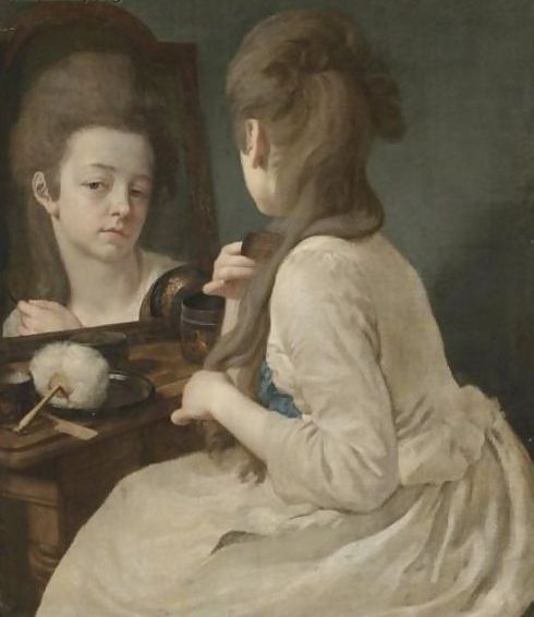 An Interior With A Young Lady At Her Toilet, Combing Her Hair Before A Mirror, by Johann Anton de Peters