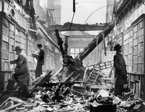 collectivehistory :     London readers continue to browse at a bombed-out library, WWII.      Now imagine the 21st century with kids reading Kindles or peering into their phones…