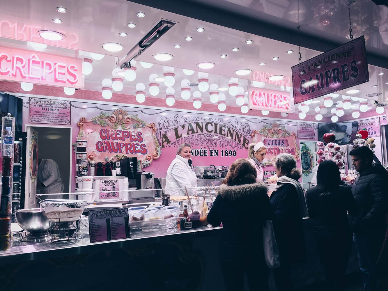 crepes christmas market paris france