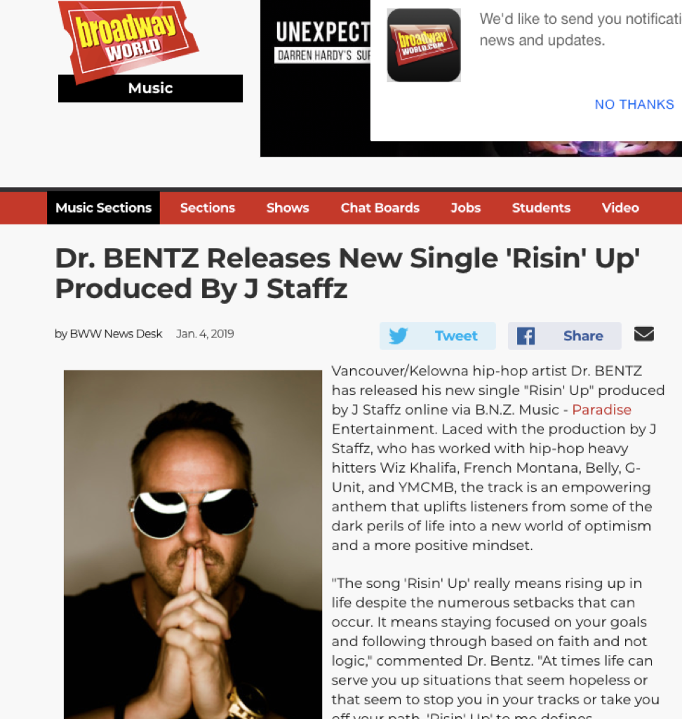 Thanks to Broadway World for Featuring Me on Their Cover - Jan 4 '19 Single: risin' up