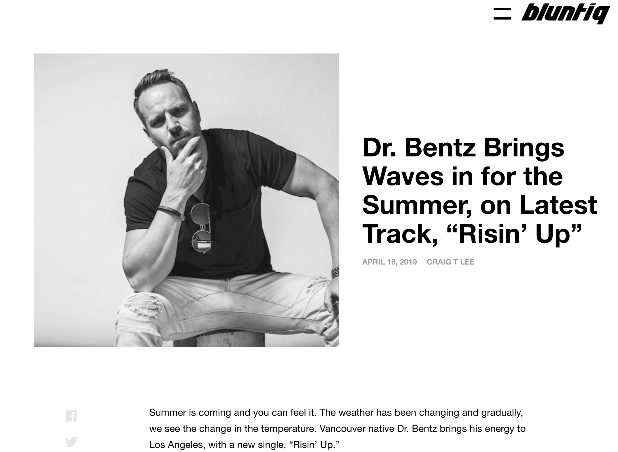 Big Shouts to Blunt IQ for the feature on Risin' Up! - https://bluntiq.com/2019/04/bentz-risin-up