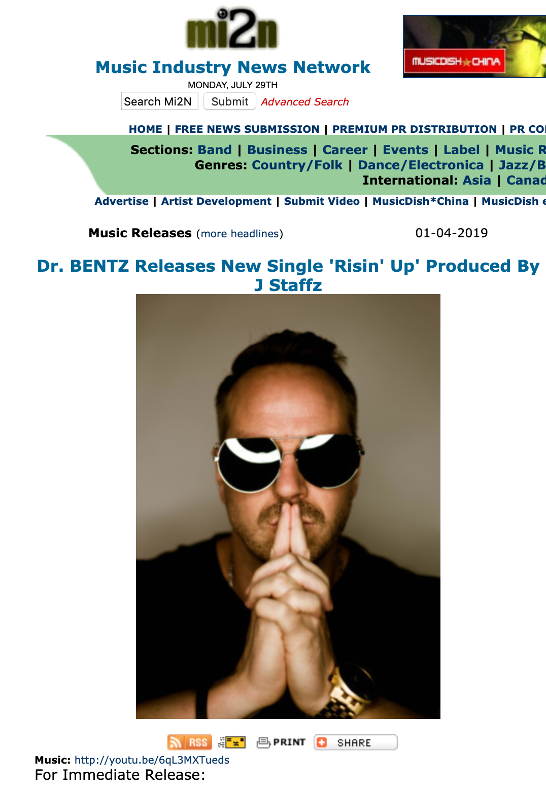 Music Industry News Posts on Risin' Up! - Dr. BENTZ gets Press Release Featured