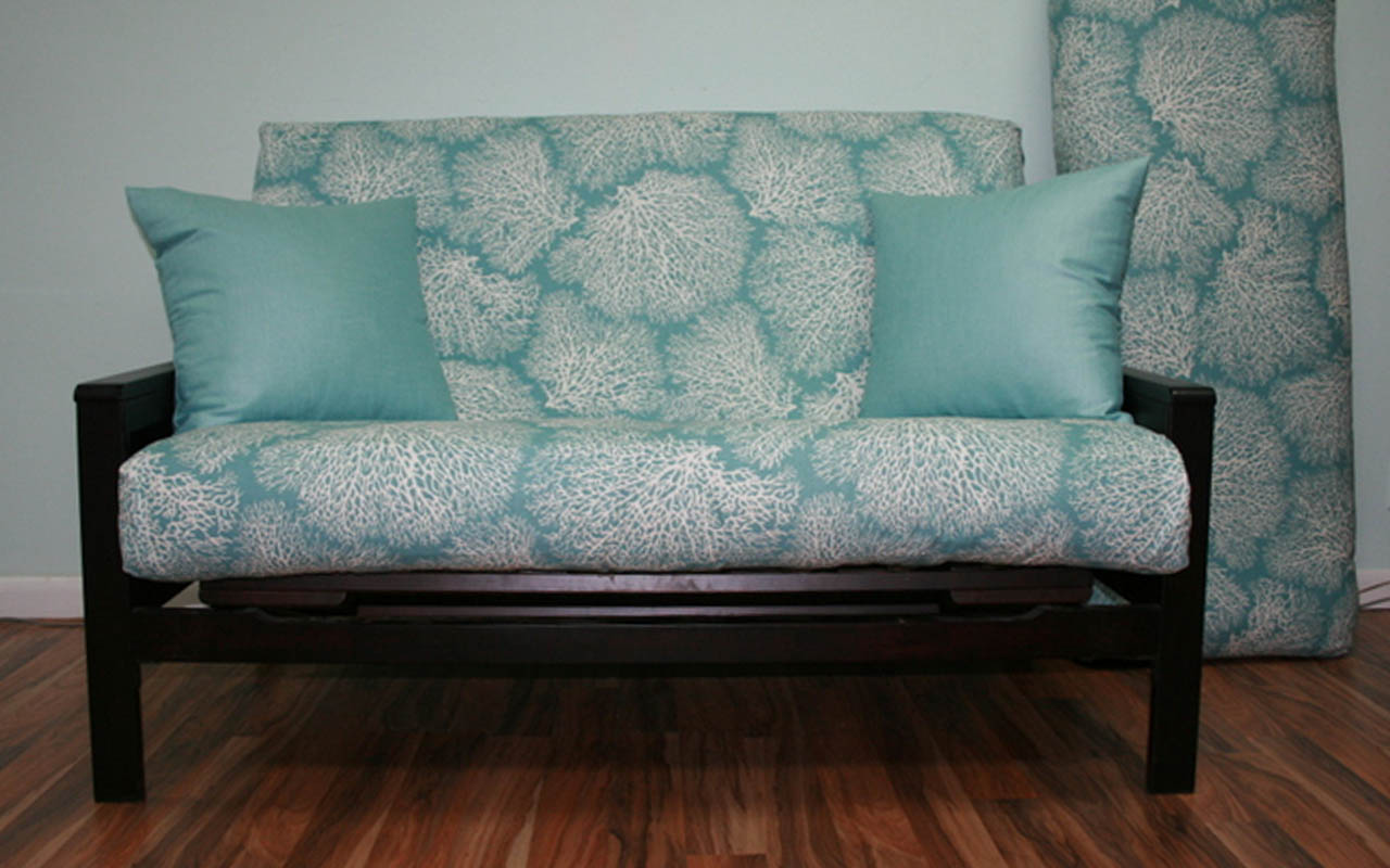 Loveseat position with split cushions.