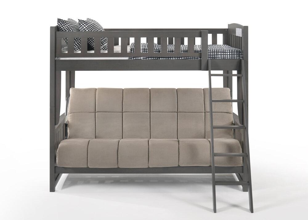 Grey Stonewash Twin Full Futon Sofa Bunk Bed The Futon Company