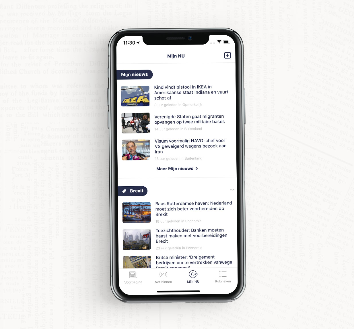 Mijn NU offers a personal view of the news, based on the topics you follow