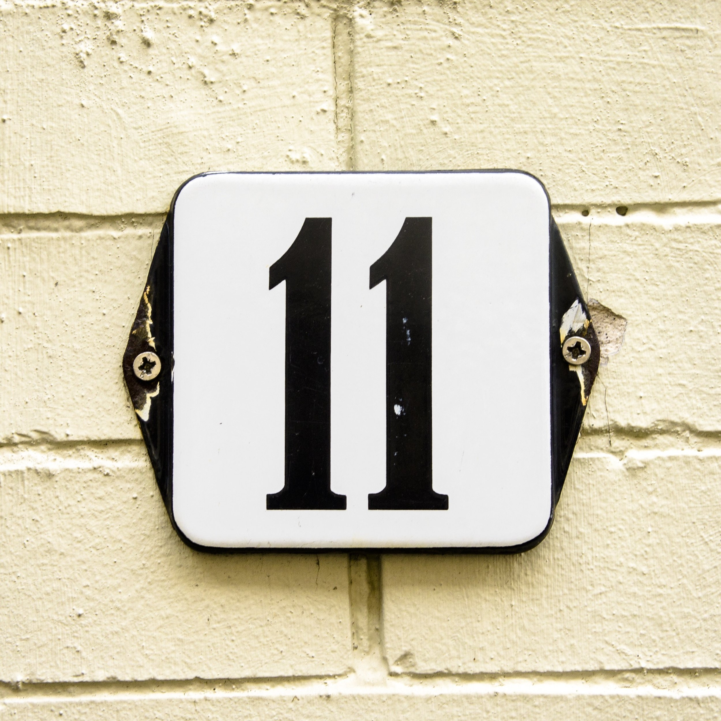 Number 11 sign outside house