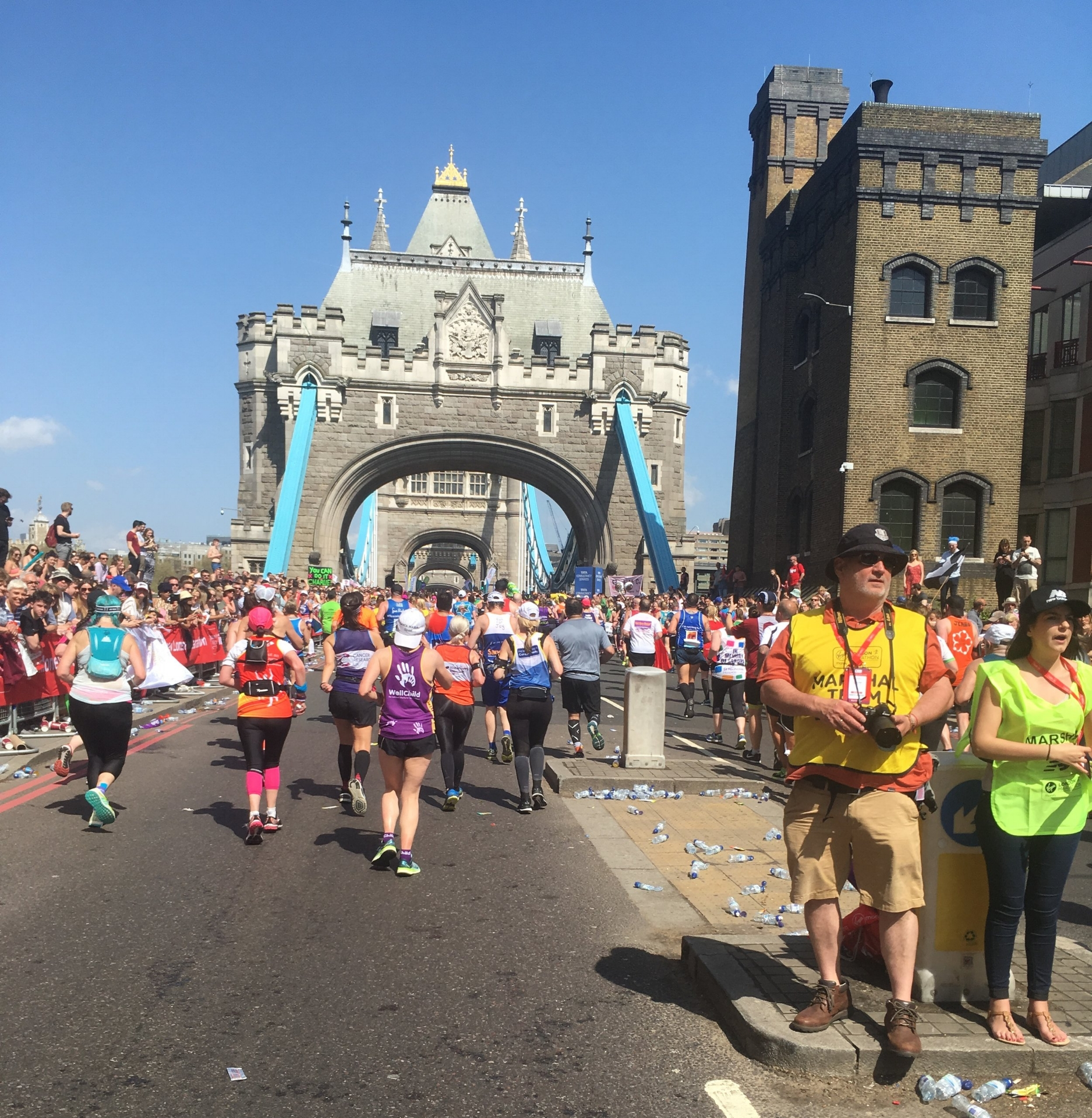 A photo Sophie took whilst running across Tower Bridge