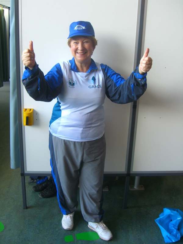 Jill after completing her Sydney Harbour Bridge Climb on behalf of GRACE