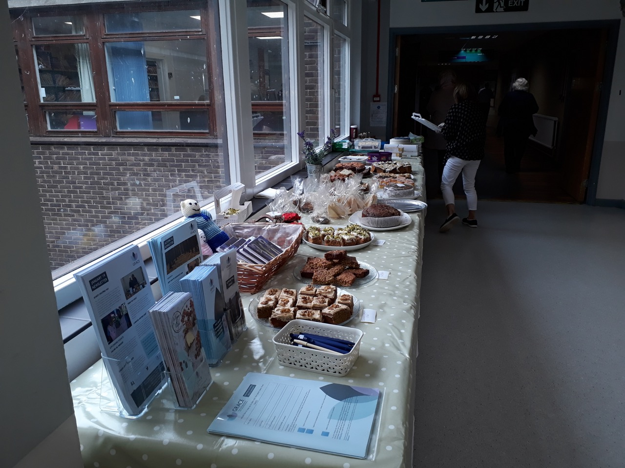 Table ready for Cake Sale for Ovarian Cancer Awareness at the Royal Surrey County Hospital