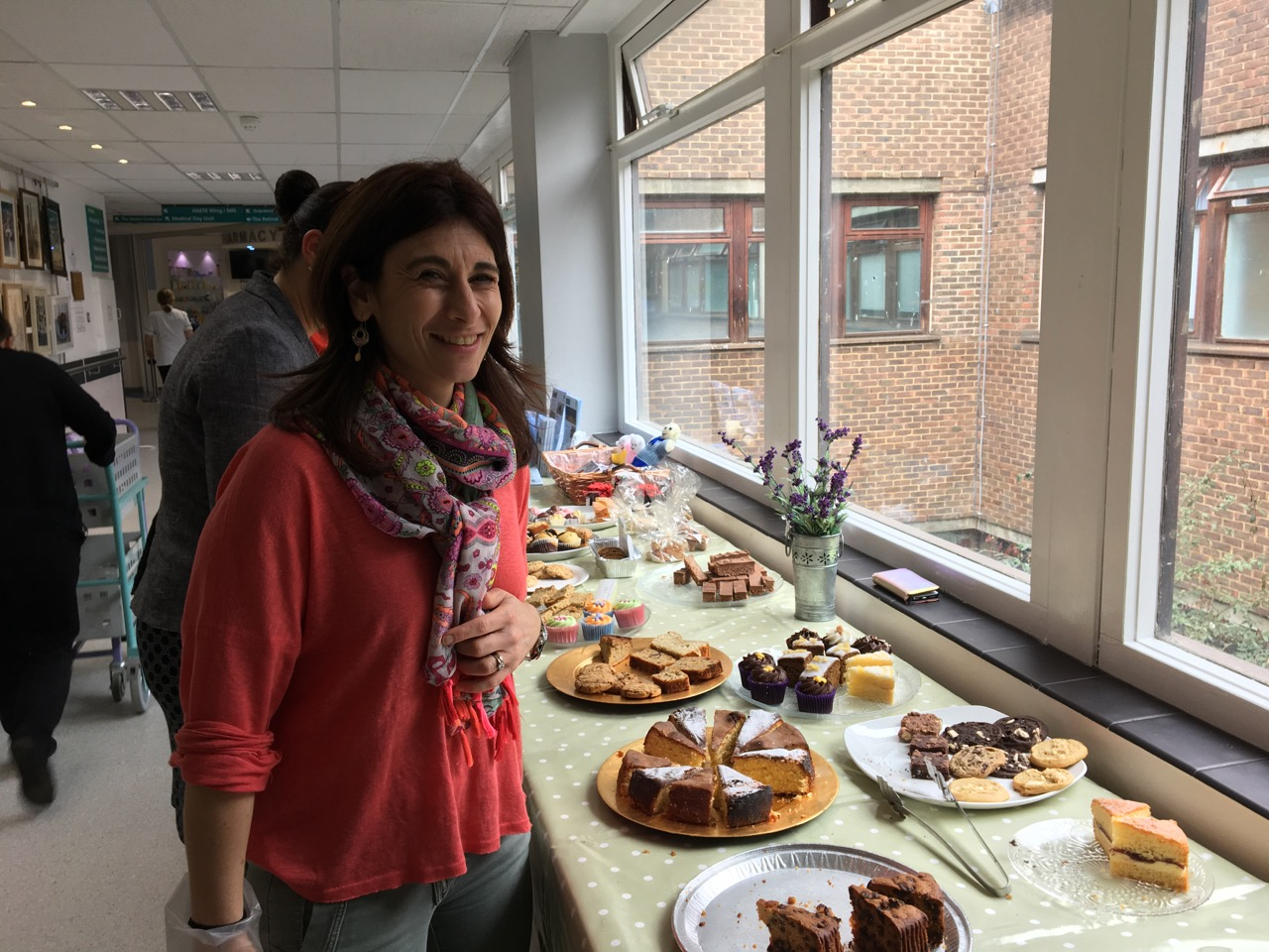 GRACE volunteer at the Cake Sale for Ovarian Cancer Awareness at the Royal Surrey County Hospital