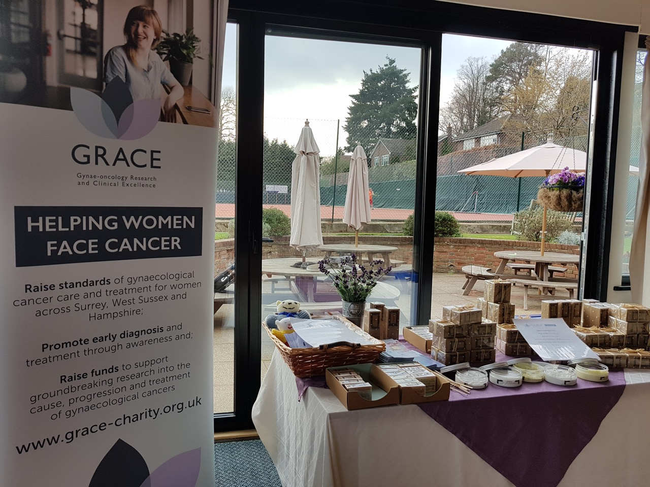 Table of GRACE products at Dorking Tennis Club Winter Tournament, Surrey