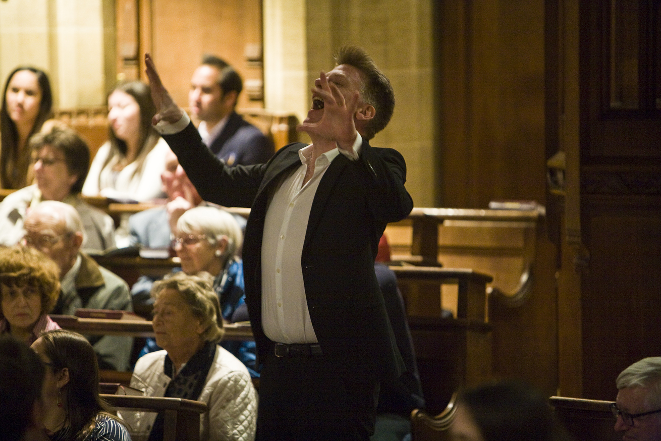 Man singing at Charterhouse Spring Concert for GRACE