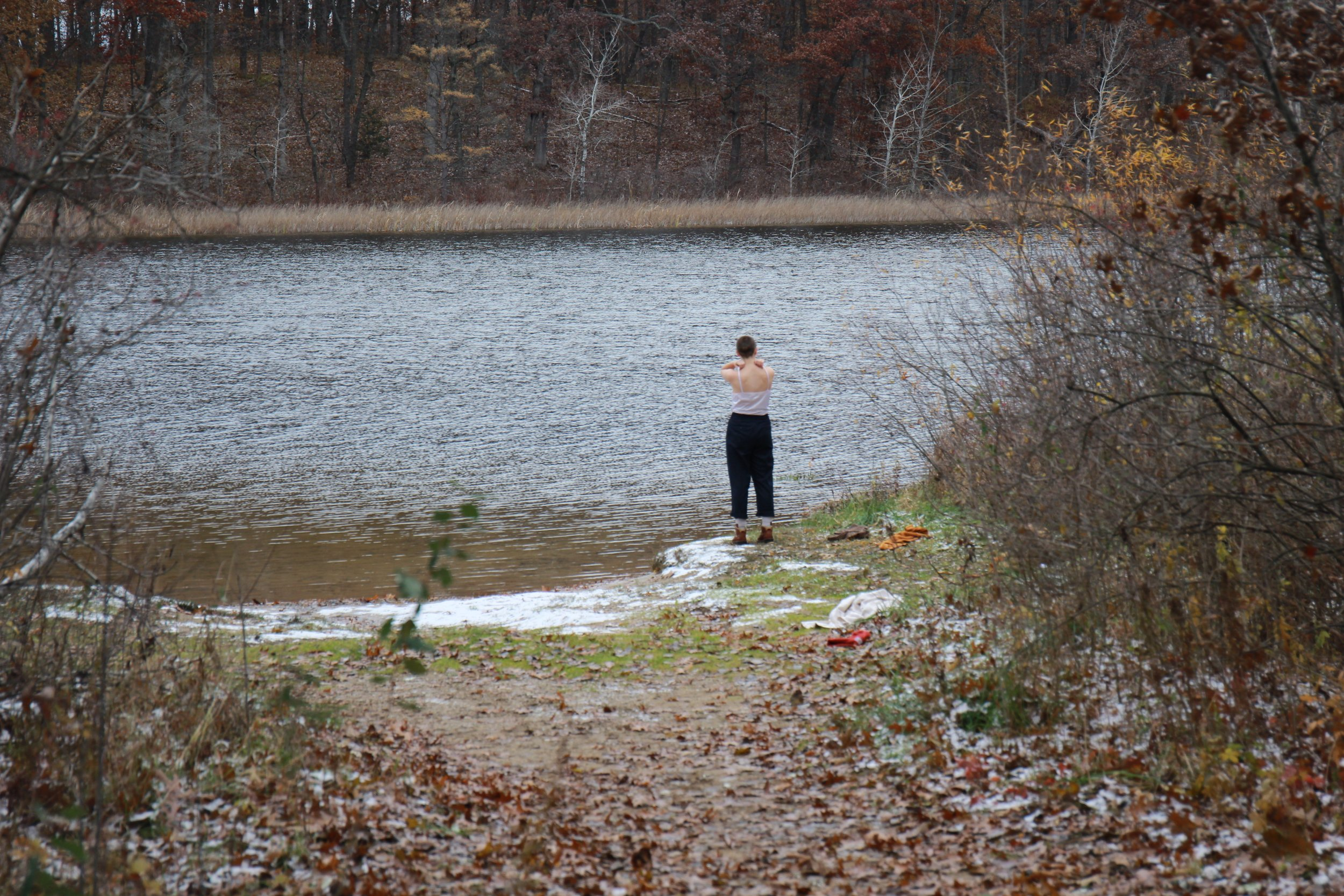 While weather changed and Shama could not go in the water, to depict sublimeness, I chose a set in between seasons as a symbol of the character's liminality and contemplation through transition.