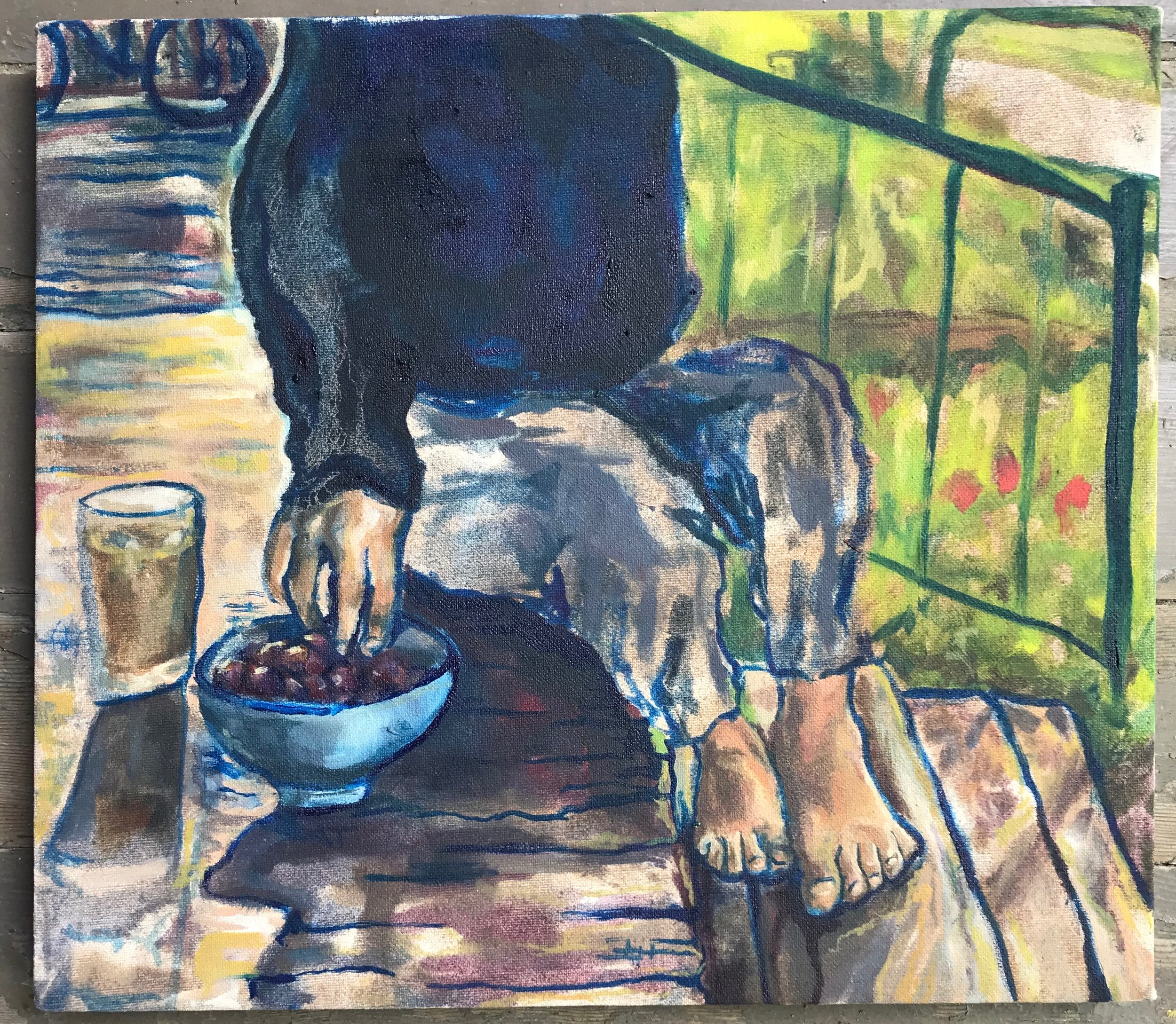 Madalyn on the Porch at 10 AM   10 x 12 in  oil on canvas