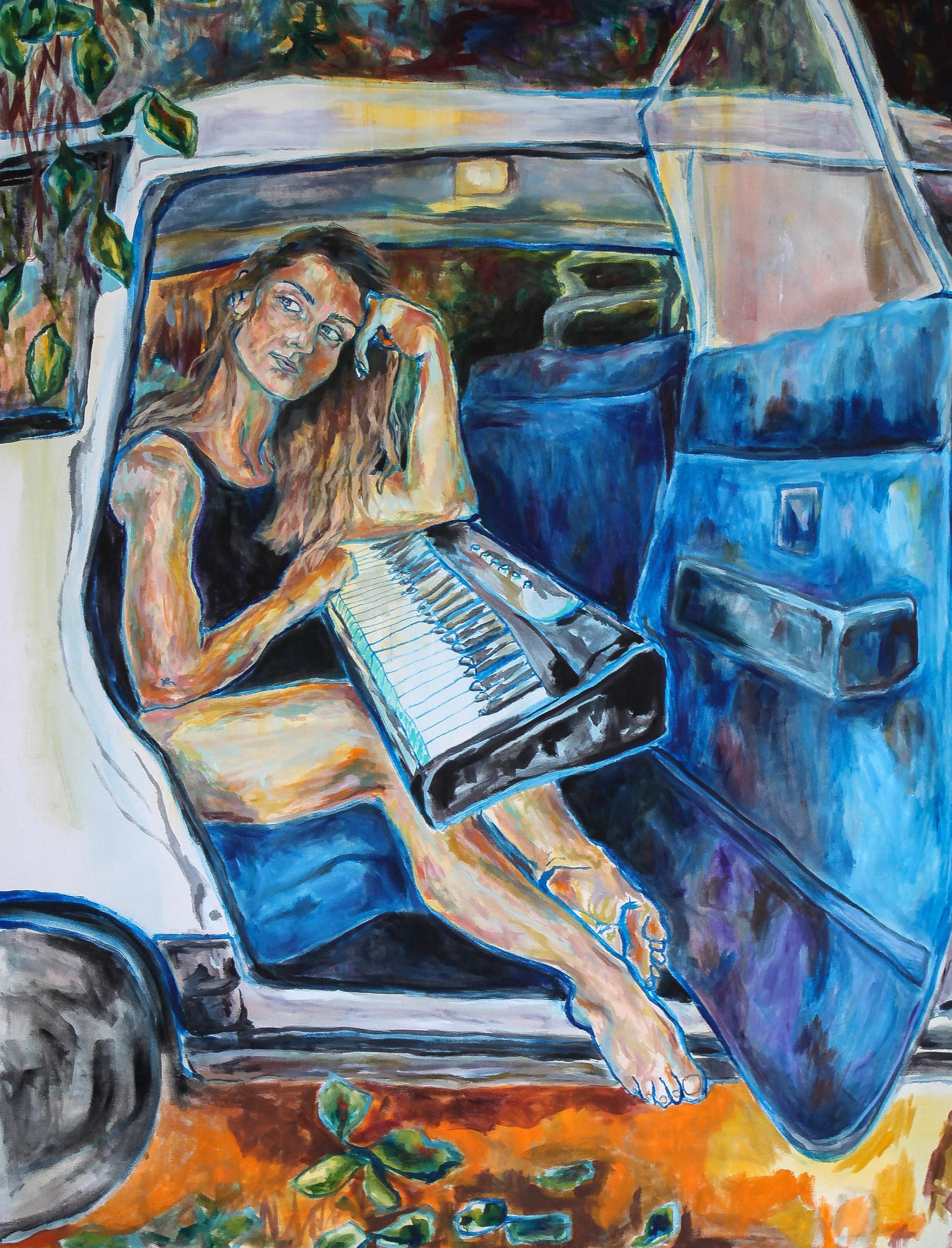 Frankie   4.5 x 4 ft  oil on canvas  *Cover for Frankie's new album, Geniza.  Stream:  https://open.spotify.com/album/4JttoB2t6JmI588XnRmV4d?si=Spkua0k6T6SZDasx2GaABA